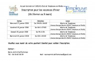 Dates, horaires et  lieux des inscriptions pour l'ACM des vacances d'hiver 2018.