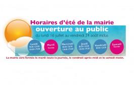HORAIRES D'ÉTÉ DE LA MAIRIE. OUVERTURE AU PUBLIC