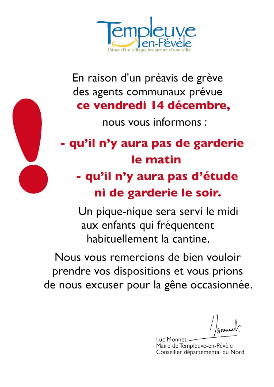 Pas d'étude ni de garderie ce vendredi 14 décembre