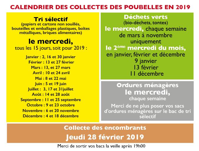 Calendrier collecte déchets 2019